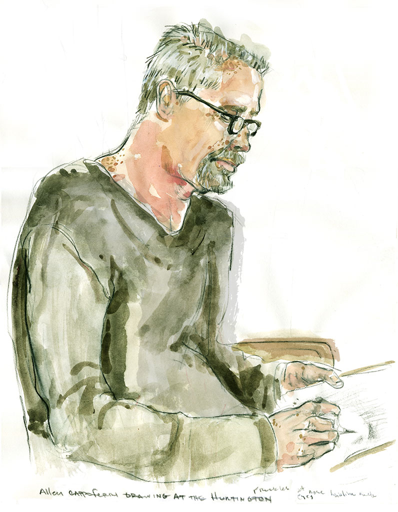 Drawing of a man with goatee and glasses sketching in his sketchbook