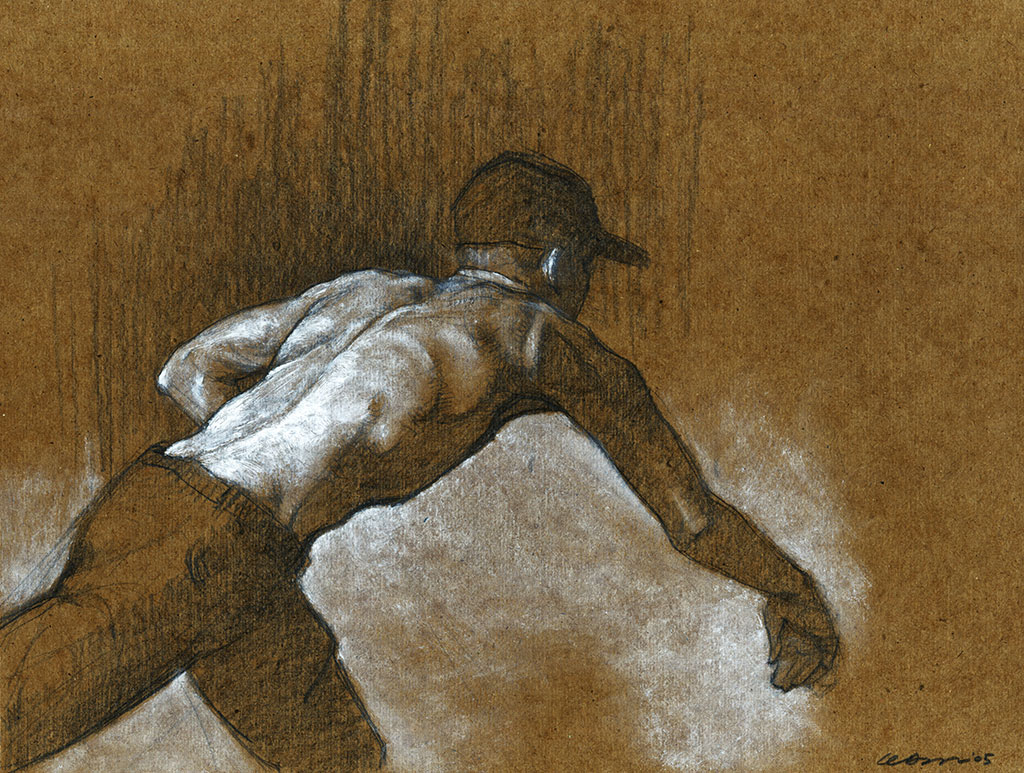 Graphite drawing of a shirtless man throwing a baseball