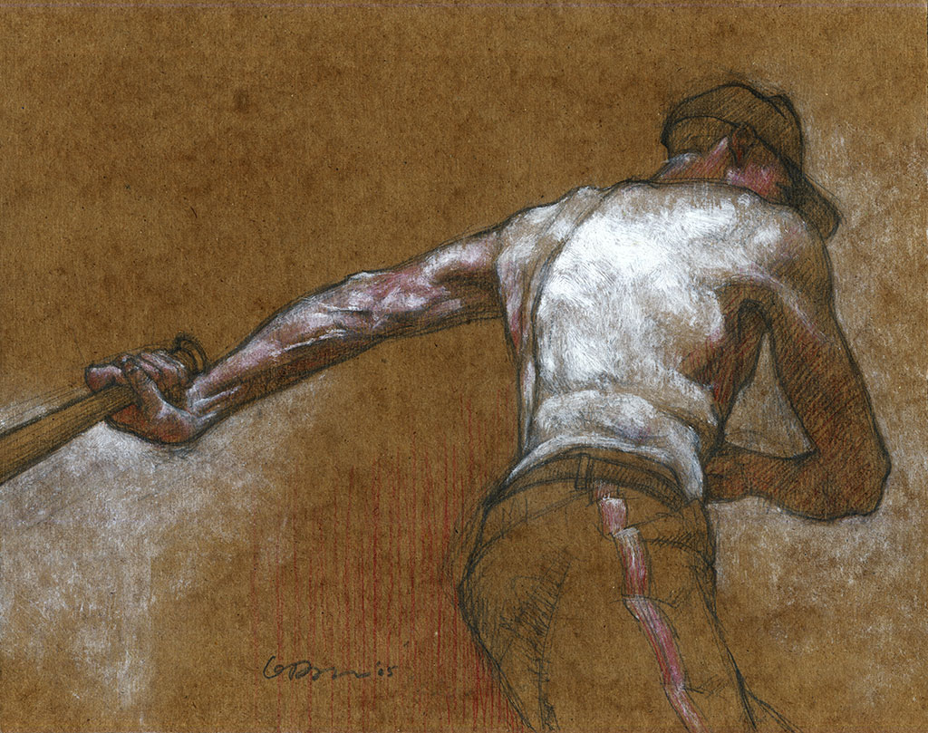 Graphite drawing of a shirtless man taking a few practice swings with a baseball bat