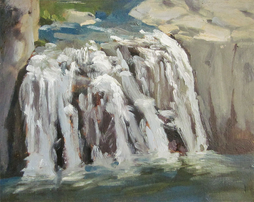 Oil painting of a section of Shoshone Falls, Idaho