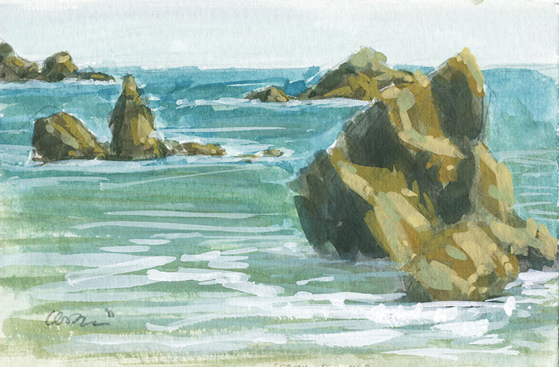 Gouache painting of rock formations on the beach of Corona Del Mar