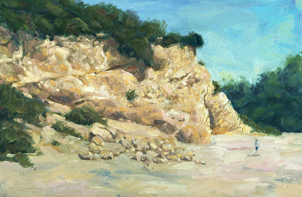 Oil painting of the cliffs facing the beach at Corona Del Mar