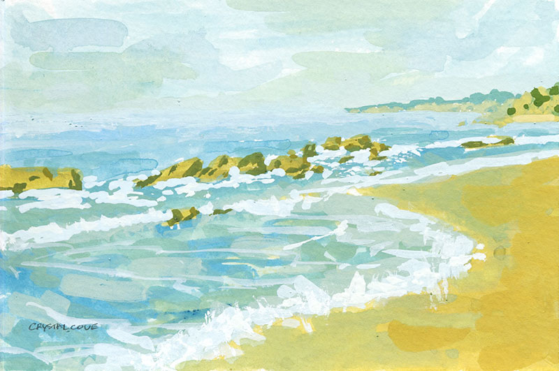 Small study gouache painting of Crystal Cove beach