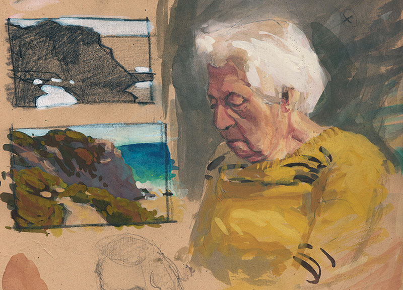 Sketch portrait of a woman and two landscape sketches