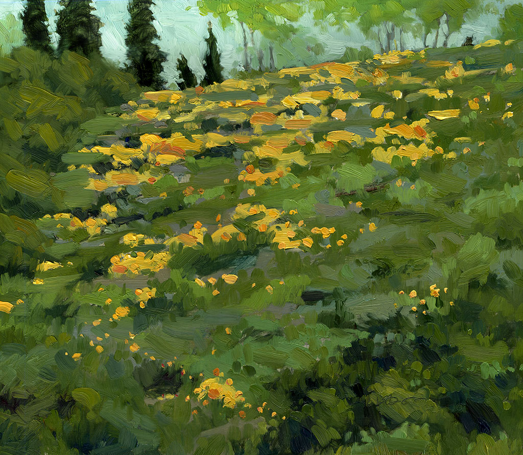 Landscape oil painting ofyellow orange flowers on a hillside