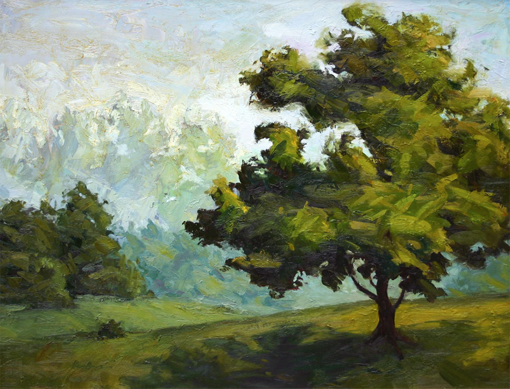 Landscape oil painting of a tree and its environment