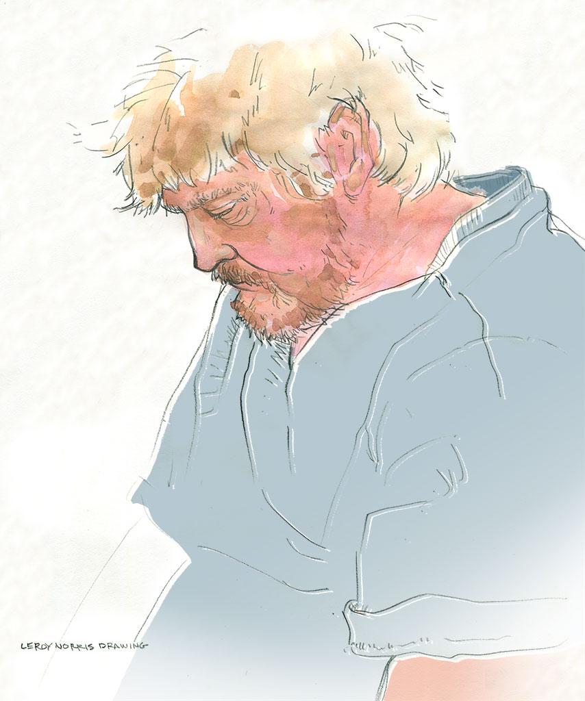 Portrait of a bearded man drawing