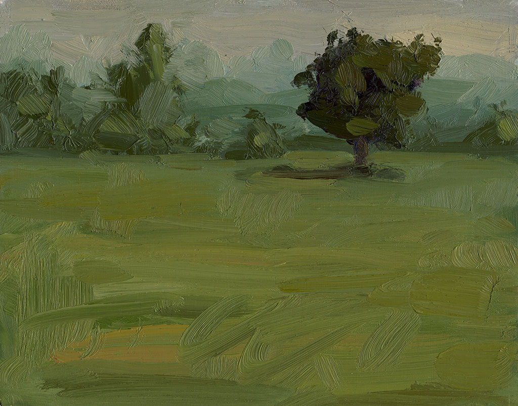 Oil landscape painting of a tree and its environment