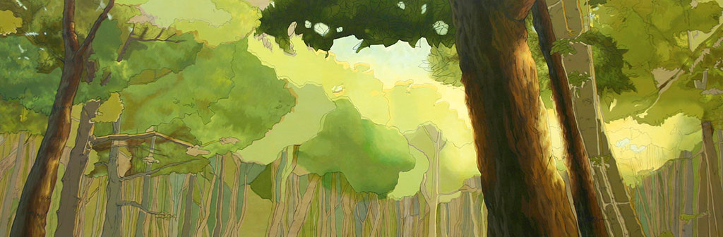 Acrylic painting of looking up through the trees to warm sunlight.