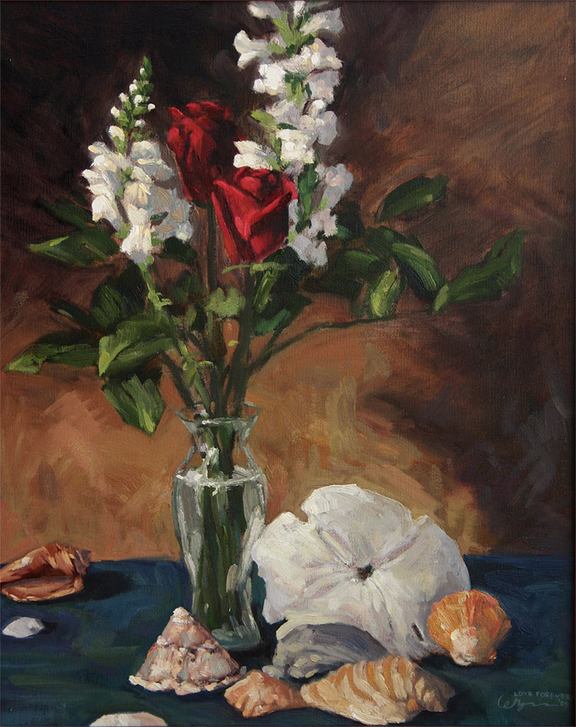 Oil still life painting of roses, snapdragons and seashells