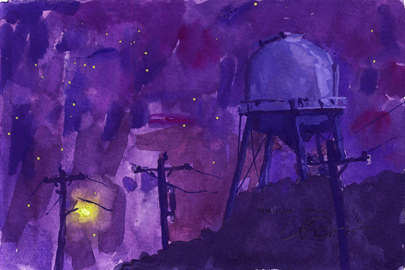 Gouache painting at night of a water tower, trees and telephone poles