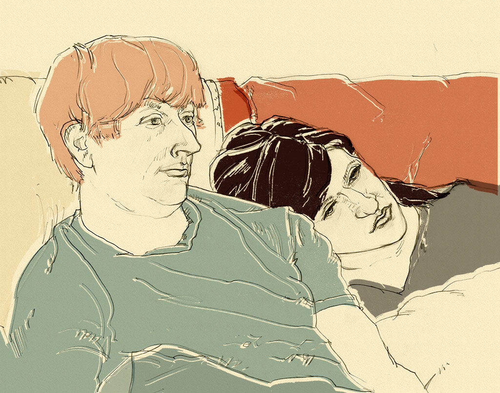 Portrait of a couple as she rests her head on his shoulder