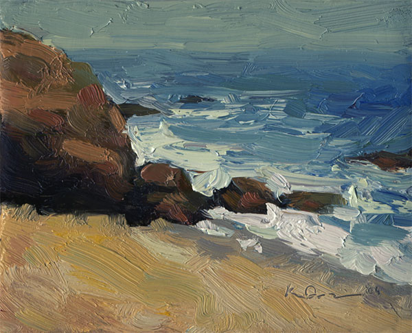 Oil landscape painting of the ocean waves crashing on the rocks of Point Dume