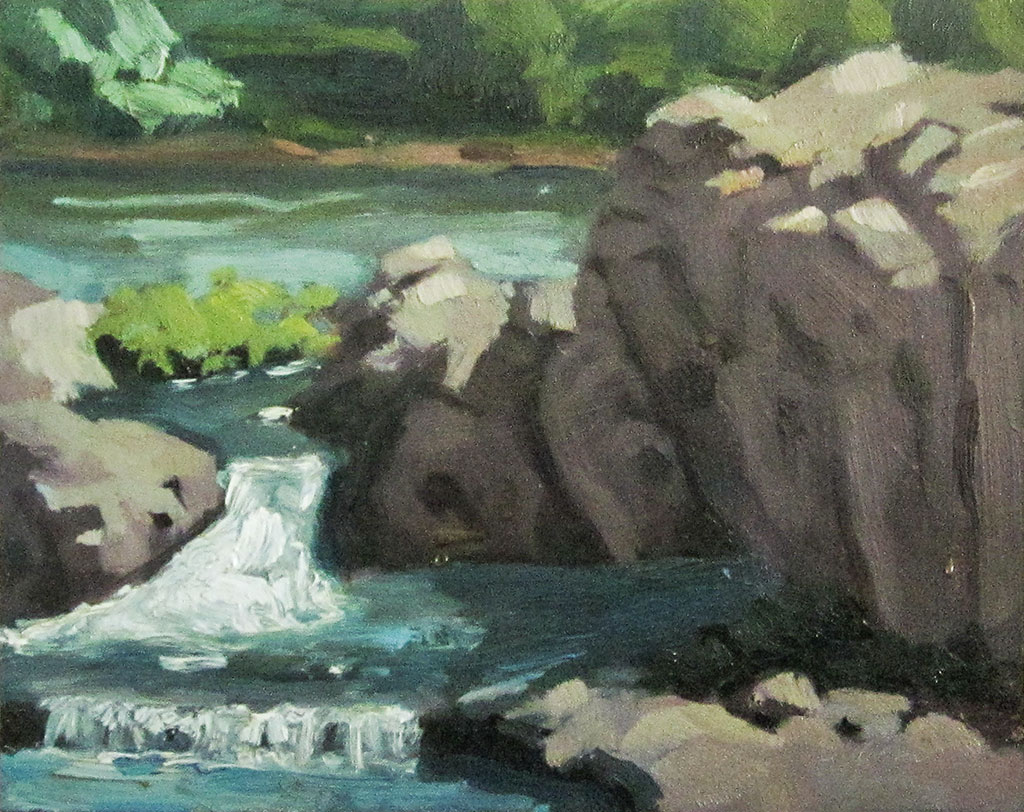 Oil landscape painting of the pools of water above Shoshone Falls