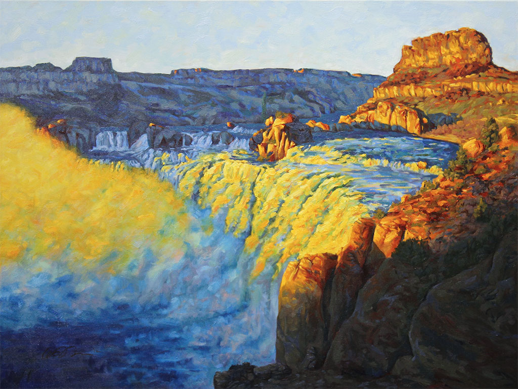 Oil painting of Shoshone Falls at sunset with light illuminating the mist, rocks and water
