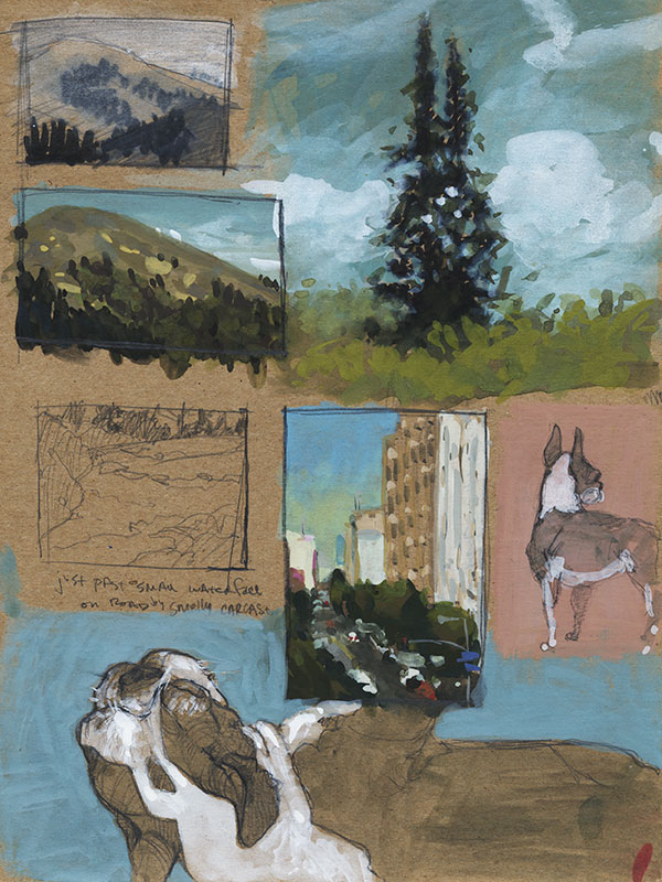 A page of cardboard with a few landscape sketches including a city scape and two sketches of a dog
