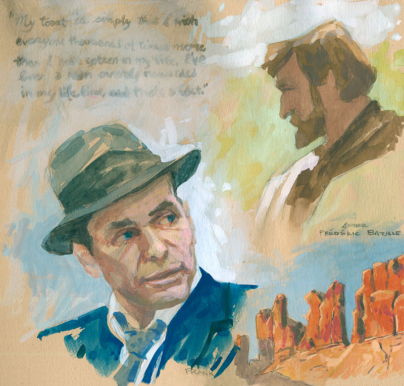 Gouache portrait of Frank Sinatra, a copy of a Bazille painting and a landscape study