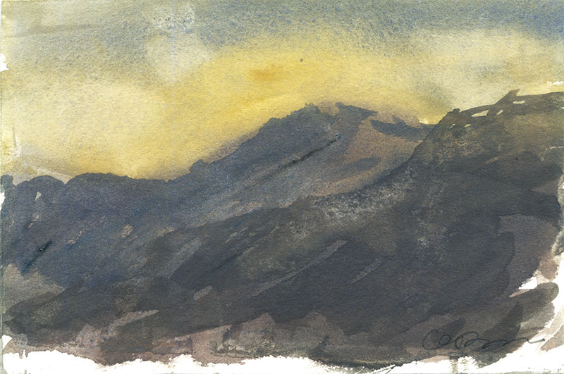 Gouache painting of hills growing darker as the sunsets