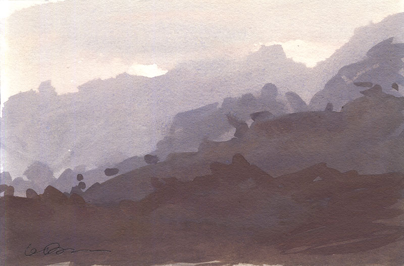 Gouache painting of the last light of sunset on some hills and trees