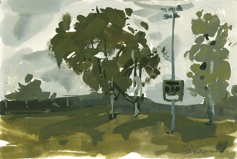 Gouache painting of trees and light pole with the scoreboard on it in right center field
