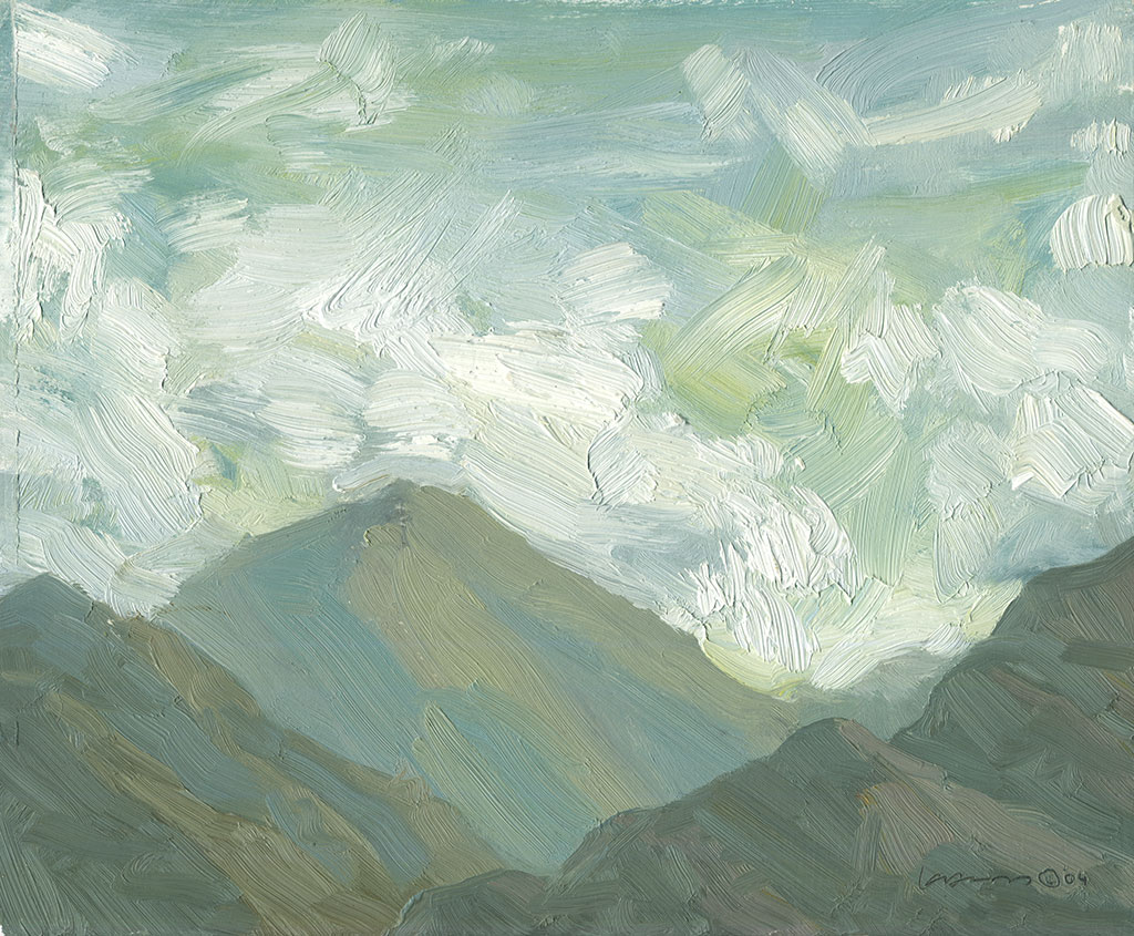 Oil painting of clouds floating past some hills