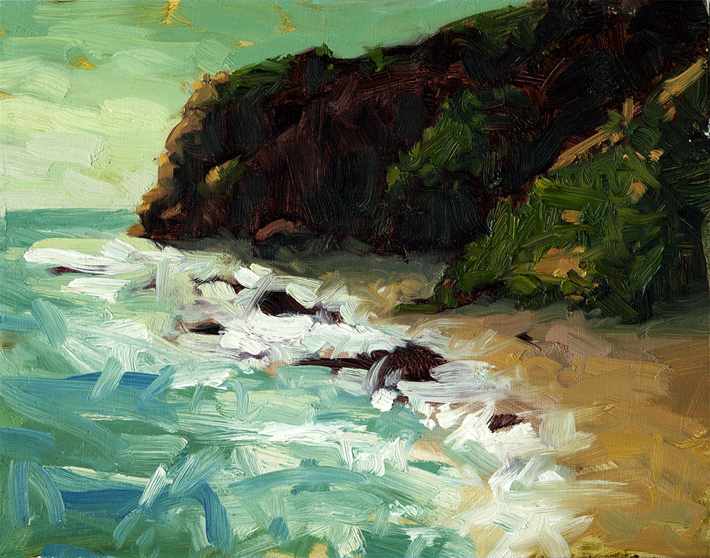 Oil painting of small waves crashing on a beach near the end of the day