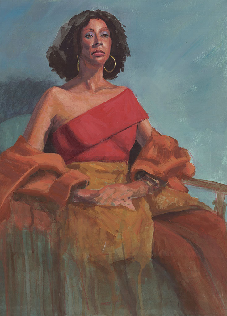 Acrylic portrait of an African American woman