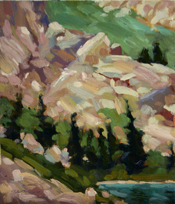 Oil painting of the trees and rocks of the west shoreline of Lake Cleveland