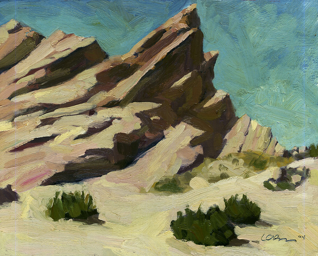 Oil painting of a prominent rock formation at Vasquez Rocks
