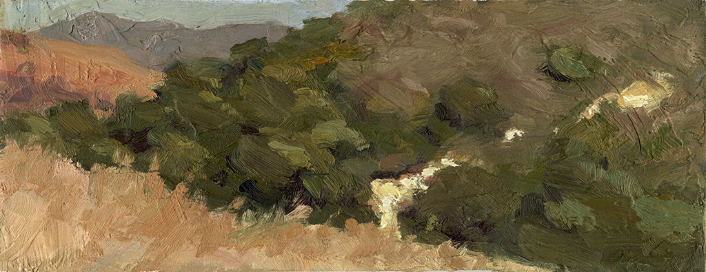 Oil painting on textured board of grass, bushes and trees with a hint of white rocks