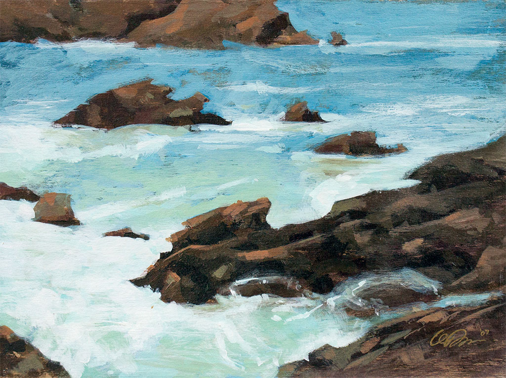 Acrylic paiting of the ebb and flow of ocean water on the rocks
