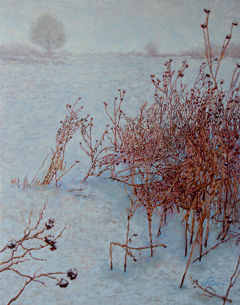 Oil painting on board of warm dried thistles and weeds in a snowy cool landscape.
