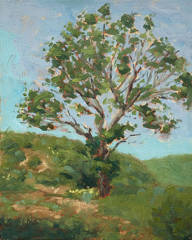 An impressionistic painting of an old tree sitting in front of some small hills
