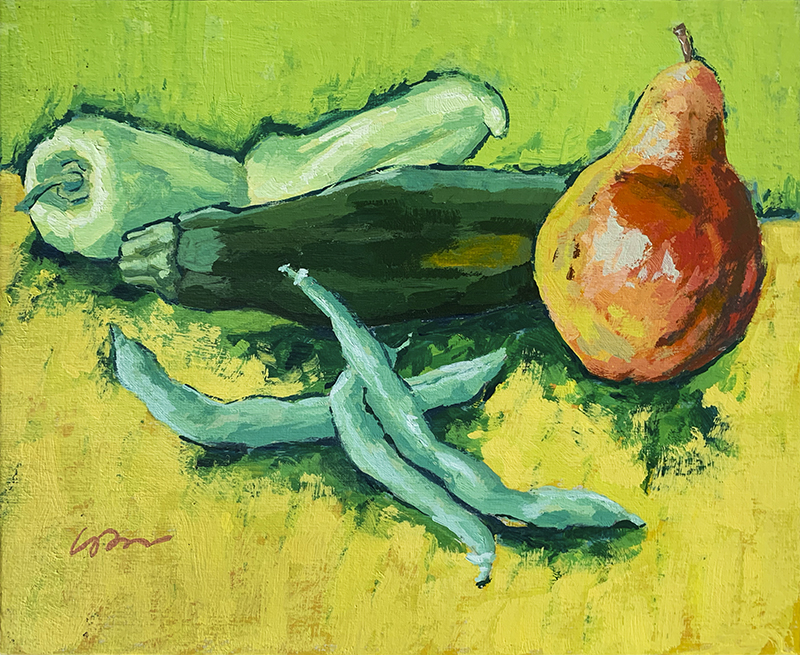 Painting of peppers, zucchini, beans and a pear
