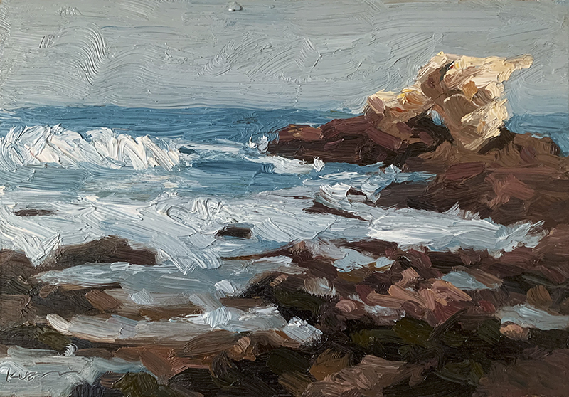 Painterly view of Arch Rock and the tide pools at Cameo Shores Beach, Corona Del Mar, California.