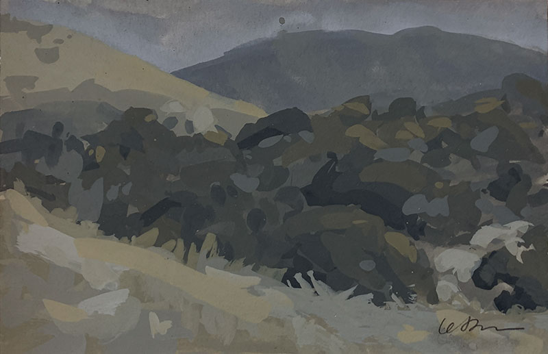 Gouache landscape painting of hills, dry grasses and evergreen bushes